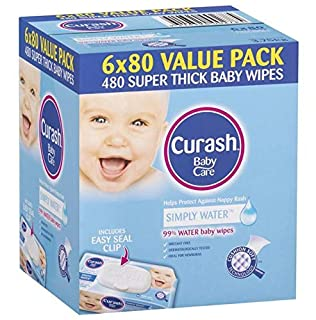 Curash Water Baby Wipes, 6 packs of 80 wipes (480s wipes) (B077P5T8PW) | Amazon price tracker / tracking, Amazon price history charts, Amazon price watches, Amazon price drop alerts