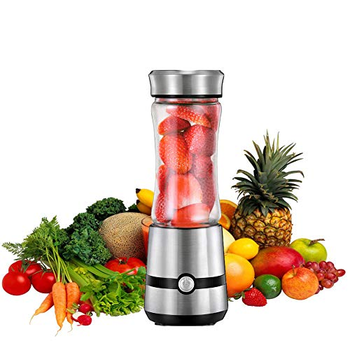 XUE-BAI 280MLJuicer Cup,Mini Portable Juicer Blender Extractor with USB Cable and 6 PCS Blades,Household Fruit Mixer for Baby Travel,Easy to Carry,Easy to Clean/Silver