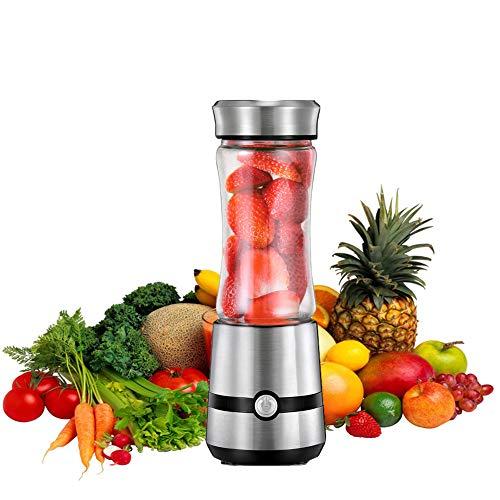 XUE-BAI 280ML Mini Blender Multifuncional, Botella Portátil de la Licuadora del Jugo, Juicer Cup Recargable USB Baby Travel Gimnasio de Oficina Fácil de Limpiar,Fácil de Llevar/silver