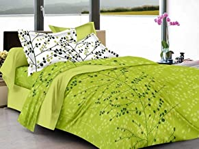 Ahmedabad Cotton Superior 160 TC Cotton Double Bedsheet with 2 Pillow Covers - Floral, Green