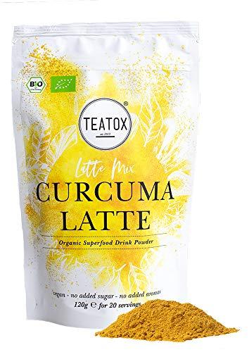 Teatox Curcuma Latte Mix | Bio & Vegan | mit Matcha und Süßholzwurzel | Premium Getränkepulver für Smoothies oder Latte | enthält grüner Tee mit Koffein | Superfood ohne Zuckerzusatz | Süßlich herb