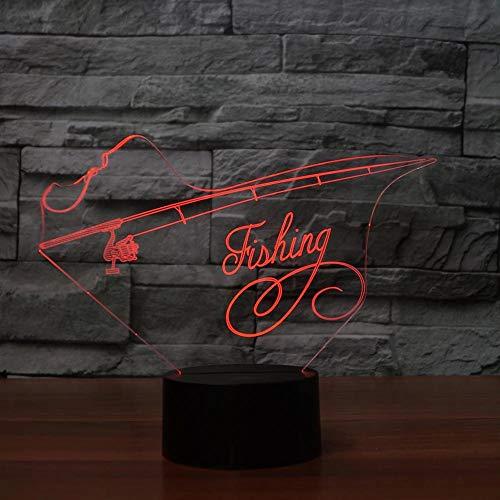 Equipo de pesca creativo 3D luz nocturna decoración LED sala de estar habitación de los niños decoración del dormitorio lámpara de mesa pequeña decoración de regalo de vacaciones lámpara de mesa