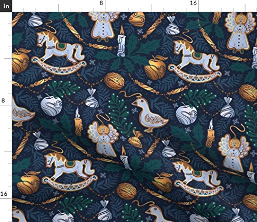 Spoonflower Fabric - Fairy Winter Night Holidays Holiday World Christmas Horse Tree Angel Printed on Denim Fabric by The Metre Bottomweight Apparel Home Decor Upholstery