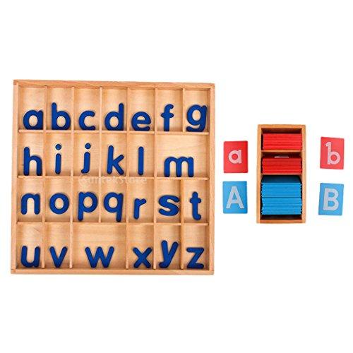 PETSOLA Hölzerne Kinder Montessori Pädagogische Sand Alphabete Bord + Beweglichen