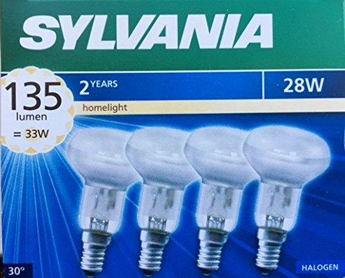 Sylvania R50 Eco Halogen-Reflektoren, 28 W = 33 W, E14 SES, klassische Glühbirnen, kleine Schraubdeckel, 240 V, dimmbar, 4 Stück