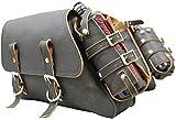 La Rosa Design Sportster Throw-over Saddle Bag Set - Rustic Black with Fuel Bottle Holders