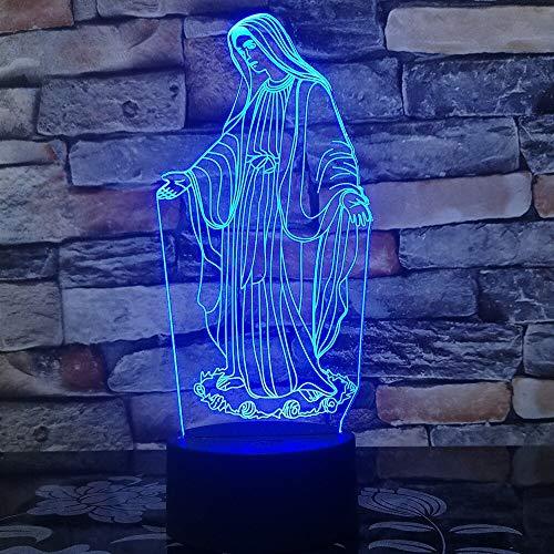 (Nur 1) 3D-LED-Licht Selige Jungfrau Maria 7 Farbe 3D-LED-Nachtlampen für Kinder Touch-LED-USB-Tischlampe Baby-Schlaflicht Gott segne dich
