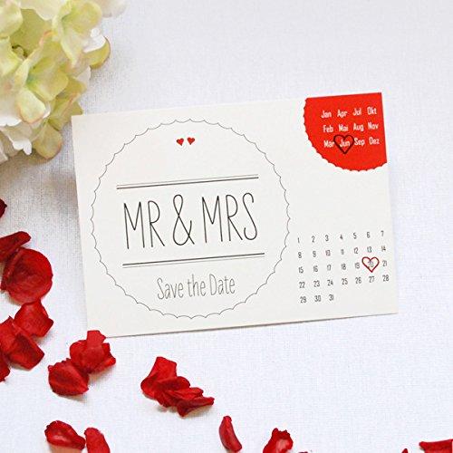 10 Save the Date Karten Hochzeit Mr & Mrs mit Kalender zum Ankreuzen, rot, Einladungskarte
