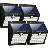iPosible Luz Solar Jardín, Upgraded 46 LED 1800 mAh Foco Led Solar con Sensor Movimiento Lámpara Solar Exteriors Impermeable Solares de Pared de Seguridad 3 Inteligente Modos para Patio [4 Paquete]