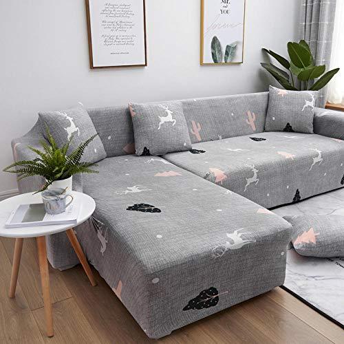 Eantpure Asiento de sofá en Forma de U sofá Universal cojín de sofá Tres Funda de sofá Todo en uno-Forest_Four People 235~300cm