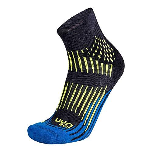 UYN Herren Shockwave Runningsocken Socken, Anthracite/Royal Blue/Yellow Fluo, 42/44