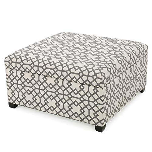 Christopher Knight Home Tempe Fabric Storage Ottoman, Grey Geometric Patterned