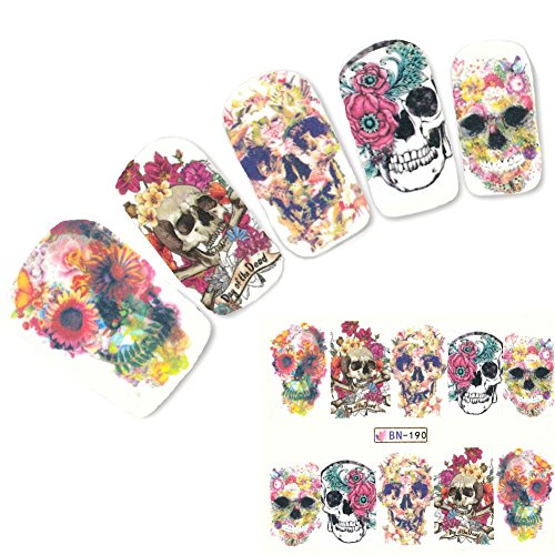 JUSTFOX - Nagel Sticker Tattoo Nail Art Totenkopf Blumen