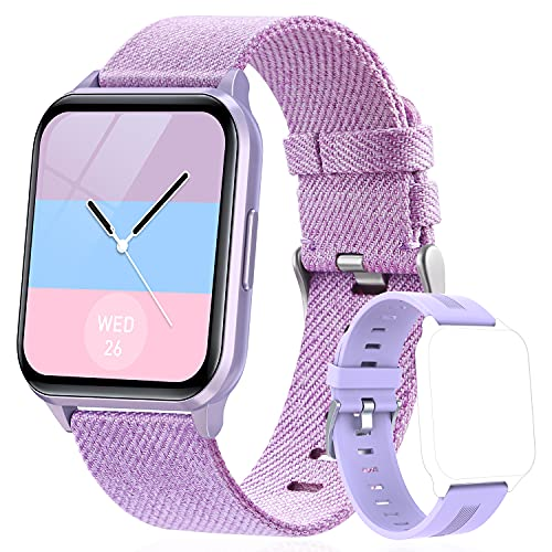 """Smart Watch for Men and Women, 1.69"""" DIY Watch Face Fitness Tracker, IP68 Waterproof Fitness Watch with Heart Rate and Sleep Monitor, Calorie Step Counter Activity Tracker for Android iOS (Purple)"""