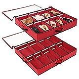 SOLEDI Portascarpe Salvaspazio 2 Pezzi Progettato per Essere Riposto sotto Il Letto e La Parte Superiore dell'Armadio-Traspirante, Robusta Organizer Scarpe di Grande capacità (Rosso)
