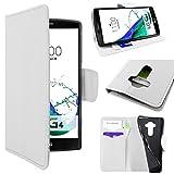ebestStar - Funda Compatible con LG G4 H815, G4 Dual-LTE Carcasa Cartera Cuero PU, Funda Libro Billetera Ranuras Tarjeta, Función Soporte, Blanco [Aparato: 149 x 76.2 x 9.8mm, 5.5'']