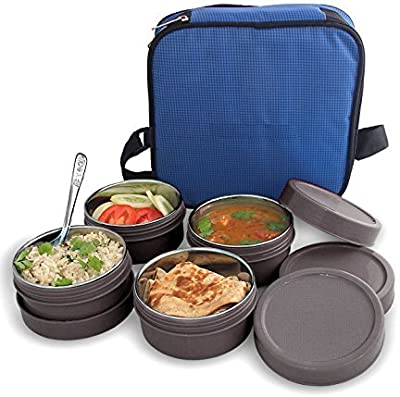 BMS MaxFresh 2in1 Steel & Polypropylene Lunch Box Set, 8 Pieces, Gray