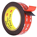 Double Sided Tape, HitLights Mounting Tape Heavy Duty, Waterproof Foam Tape, 15FT Length, 0.94 Inch Width for Car, LED Strip Lights, Home Decor, Office Décor, Made of 3M VHB Tape
