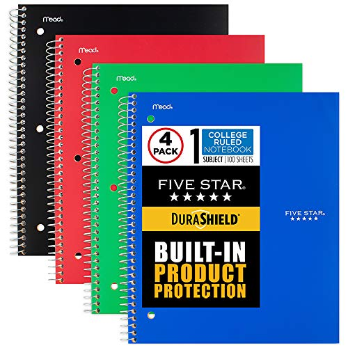 """Five Star DuraShield Notebook with Antimicrobial Front Cover, 1 Subject, College Ruled, 11"""" x 8-1/2"""", 4 Pack (820029-ECM)"""