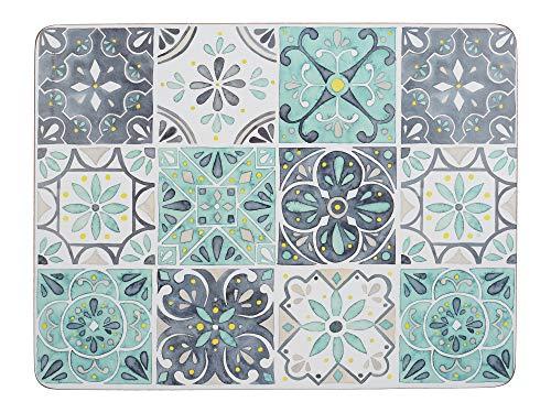 Creative Tops - Manteles Individuales rectangulares con Reverso de Corcho, diseño de azulejo Verde, Multicolor, 30 x 23 cm