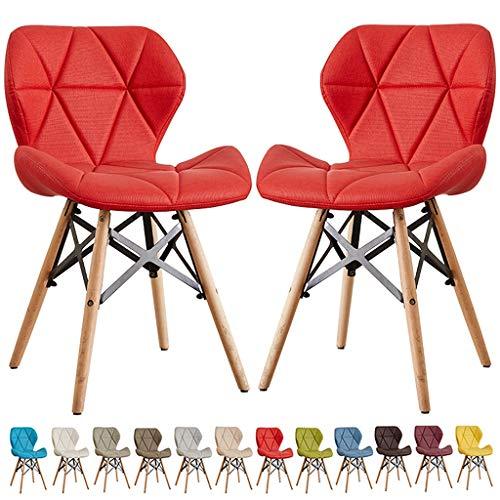 zyy Juego de 2 sillas de cocina retro de piel, funda suave, posición sentada, patas de madera maciza natural y marco de metal, robustas, cómodas y cómodas sillas de comedor de mariposa, color rojo