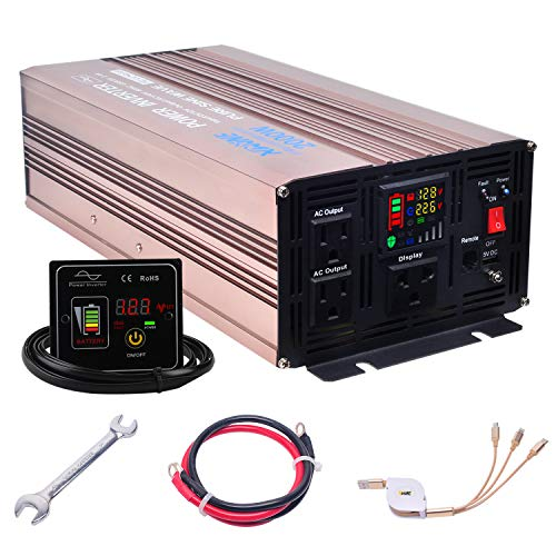 XWJNE 2000 Watts Power Inverter 12V to 110V Pure Sine Wave Car Plug Inverter Adapter Power DC to AC Converter with Remote Control and LED Display 4.2A USB Charging Ports & 3 AC Outlets Car Charger