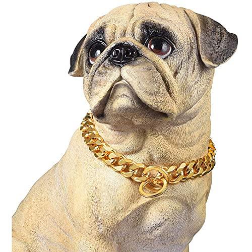 wuquansy Collar De Cadena De Perros De Metal De 15 Mm, Collar De Entrenamiento De Acero Inoxidable De Acero Cubano para Pequeños, Medianos, Grandes Perros(Size:22in)
