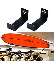 UNHO 2 x surfplankhouder voor surfplank, van aluminium, houder voor wandmontage, houder voor surfboard, zwart