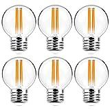 6 Pack G16.5 Light Bulb LED 6W - 2700K Warm White 60W Equivalent E26 Base 120V - Short Light Bulbs for Bedroom, Kitchen, Pendant Fixtures, Chandeliers, Scones, Vanity Bulbs, G16.5 LED Globe Light Bulb
