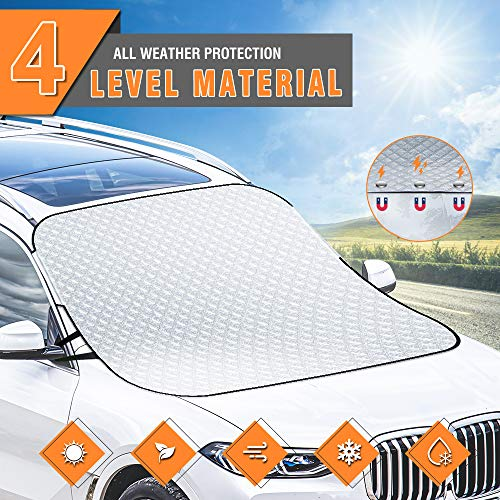 Tsumbay Car Windshield Sun Shade Cover Blocks UV Rays Sun Visor Protector with Magnetic Edges Thicker 4 Layers Sunshade Anti-Sunburn/Anti-Wind/Anti-Fog Large Windshield Sun Cover Fits Most Cars