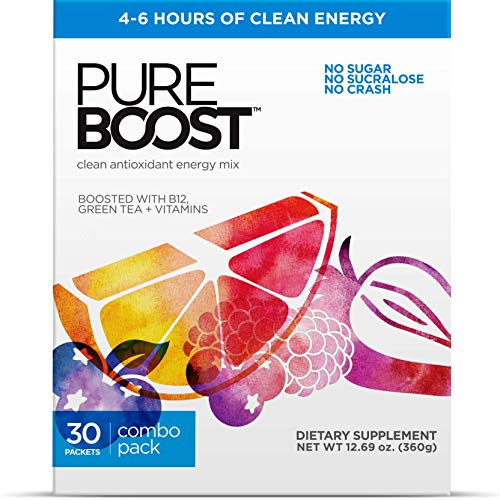 Pureboost Clean Energy Drink Mix + Immune System Support. Sugar-Free Energy with B12, Antioxidants, 25 Vitamins, Electrolytes. (Combo Pack, 30 Count)