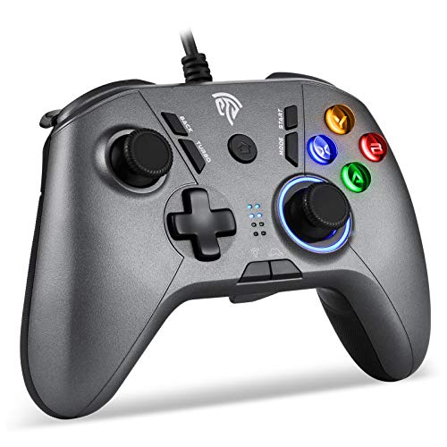 EasySMX Wired Gaming Controller, PC Gamepad Joystick with Adjustable Dual-Vibration PC Game Controller Compatible with Switch/Windows 10/8/7 PC, Laptop, Android TV Box