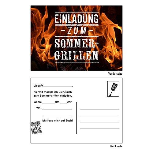 25 Einladungskarten Geburtstag BBQ Bratwurst Grillen Bier Sommer Barbecue Party Feier Grill Steak Essen
