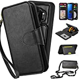CORNMI Samaung Galaxy S9 Wallet Case, Mirror 10 Card Holders Wrist Strap Crossbody Kickstand Folio Zipper Pocket Detachable Purse Protective Leather Flip Cover for S9 Black