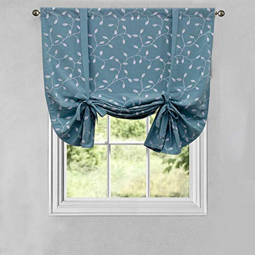 Tie Up Curtains, Leaf Embroidery Roman Curtains 50' x 63' Tie-up Valance Room Darkening Shades for Windows Exquisite Teal Ballon Short Window Shade Easy Install for Bedroom Kitchen Home (Green)