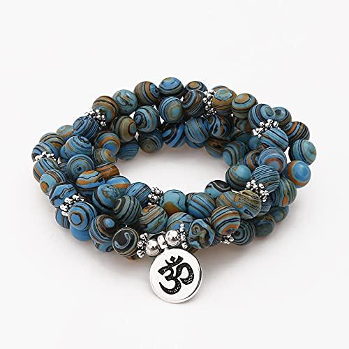 sdfpj 8mm Blue Malachite Beads Pulsera de enrollamiento Multicapa 108 Mala Oración Buda Pulsera for Mujeres Hombres (Metal Color : Lotus Bronze)