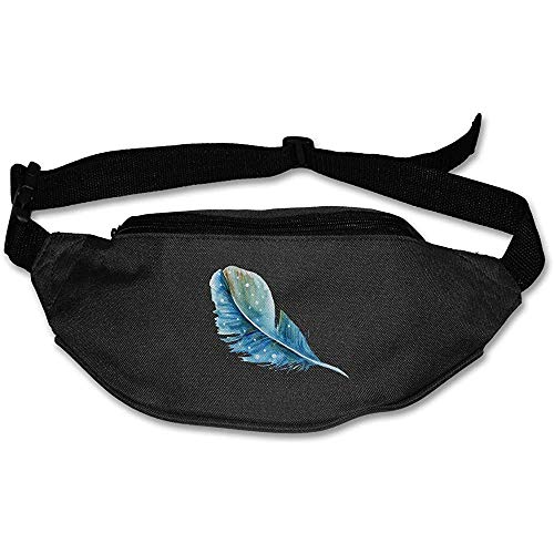Jacque Dusk Sac Banane Fanny Pack Blue Feather Pouch Belt Travel Pocket Outdoor Sports