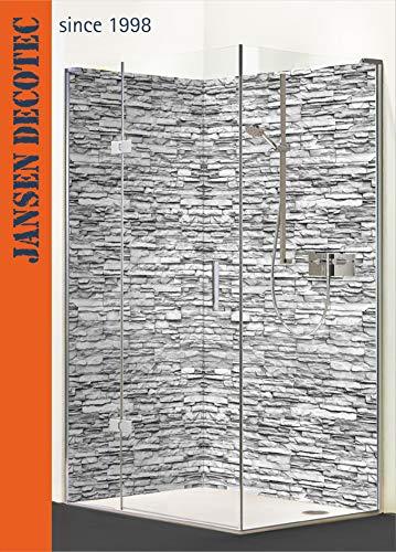 Eck - Duschrückwand, 2 Segmente je 90x200cm, Motiv: Steindecor_Sandstein_anthrazit - KOSTENLOSER Zuschnitt auf Ihr Wunschformat !
