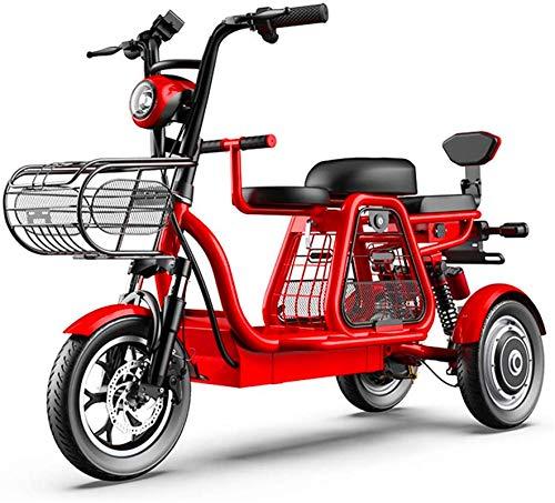 Alta velocidad Triciclo eléctrico, viaje de padre-hijo de tres plazas, 48V500W súper potencia, GPS de posicionamiento / suspensión independiente / caja de almacenamiento grande, scooter de la familia