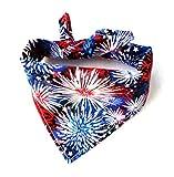 Traditional Tie On Starburst Fireworks Patriotic Red White Blue Pet July 4th Cat Dog Bandana Neckwear