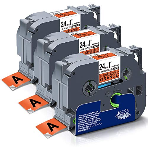 Absonic Compatible Label Tape Replacement for Brother Tze-B51 Tz B51 24mm Black on Fluorescent Orange Laminated for PT-D600 PT-P700 PT-P750W PT-P710BT PT-E500 2430PC, 0.94in x 16.4ft, 3-Pack
