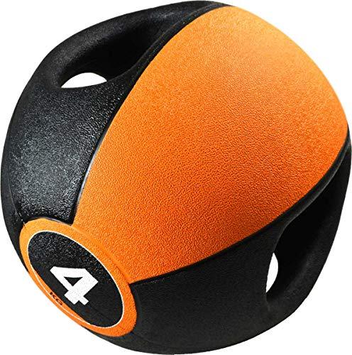 Pure2Improve Unisex-Adult Medizinball mit Griffen, Orange/Schwarz, 4kg