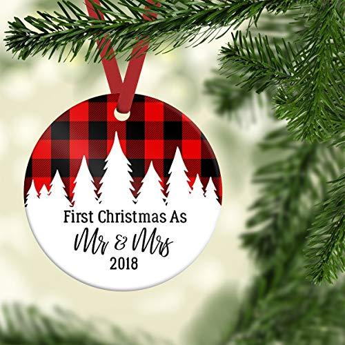 Lplpol 2018 Wedding Ornament, First Christmas As Mr and Mrs, Rustic Wedding Ornament, Newlywed Ornament, Plaid Wedding Ornament, Tree Ornament