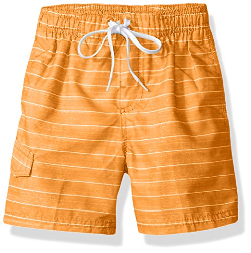 Kanu Surf Boys' Little Quick Dry UPF 50+ Beach Swim Trunk, Line Up Orange, 5/6