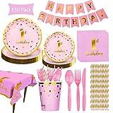 Noe Set di 130 pezzi per primo compleanno per bambine, decorazione per bambini 1 anno rosa, con piatti e bicchieri, tovaglioli, per 16 bambini/persone (femmina)
