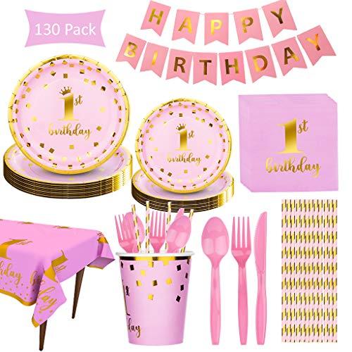 DreamJing - Vajilla de cumpleaños para niña, 130 unidades, para 16 invitados – Desechable plato, vaso, mantel, cuchillo, tenedor, cuchara, para cumpleaños, 1 año, niña, rosa y oro
