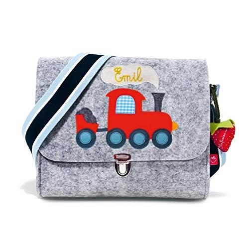 Kindergartentasche mit Namen Filztasche für Jungs mit Eisenbahn Zug Lokomotive von la fraise rouge