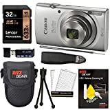 Canon Elph 180 Point and Shoot Camera (Silver) with Lexar 32GB, Camera Case, Memory Card Reader, Neck Strap, Cleaning Kit Bundle