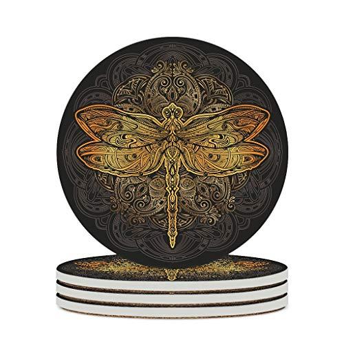 Perstonnoli Posavasos redondos de cerámica con diseño de libélula, 4 unidades, para bebidas, tazas, bares, cristal, 10 cm, color blanco, 6 unidades