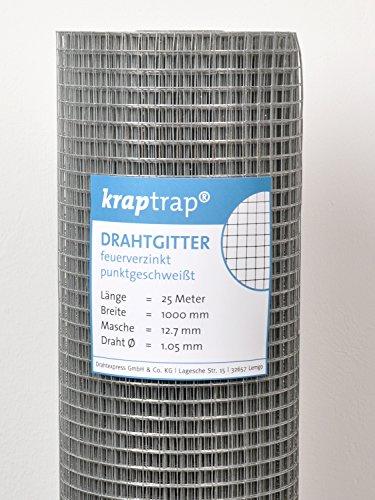 kraptrap® Volierendraht Käfigdraht Drahtgitter 12x12mm (1m x 25m)